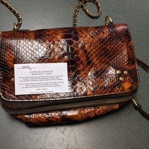 Jerome Dreyfuss Bags - Bobi Tortue Python and Moka Cross Body Bag